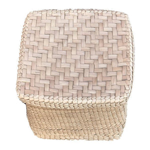 Palmleaf straw Cube Storage Basket With Lid sage green - Mystic World FindsPalmleaf straw Cube Storage Basket With Lid sage green - Mystic World Finds