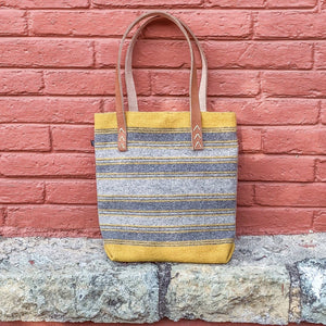 yellow and gray Striped Wool Laptop Tote With Leather Handles - Mystic World Finds