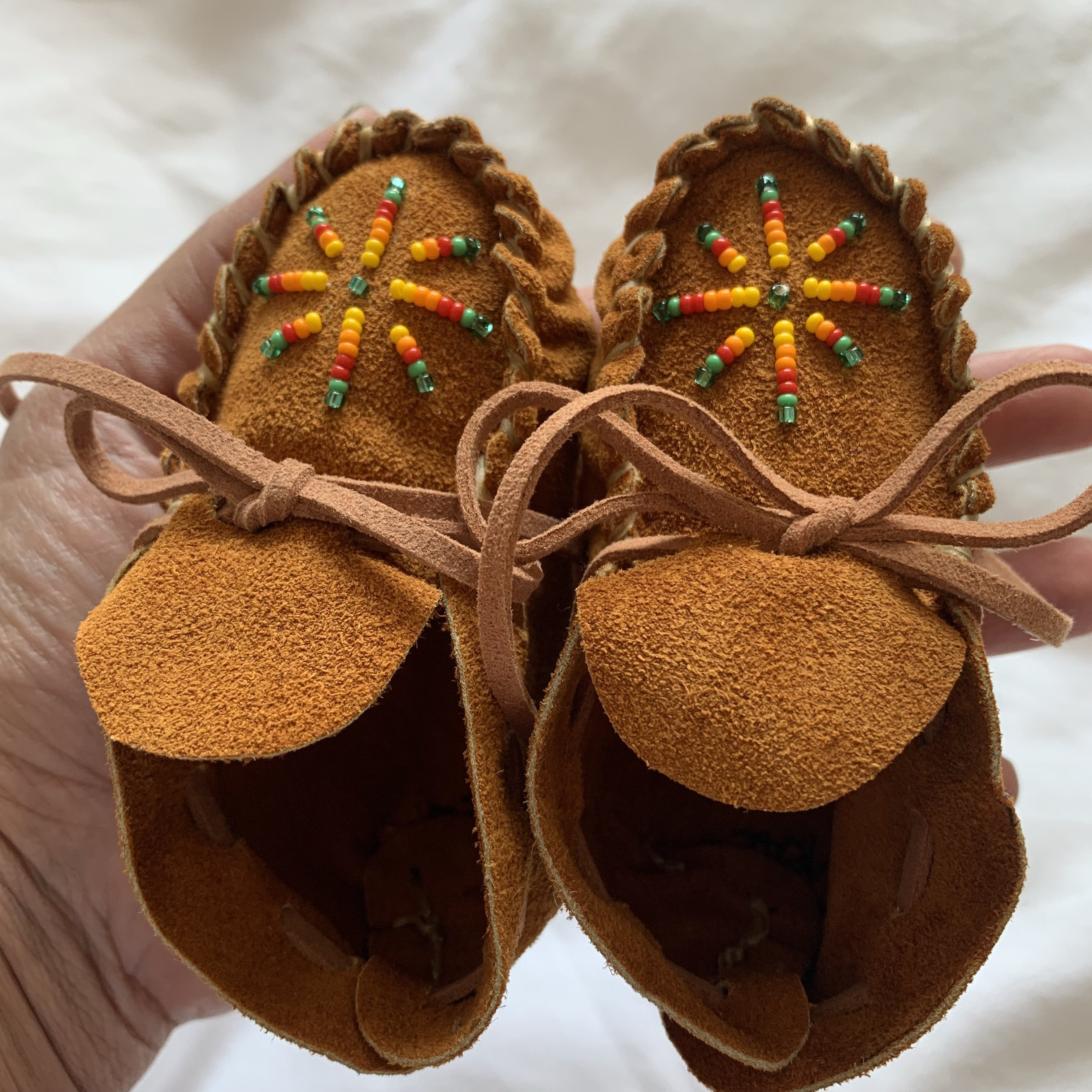 Suede Beaded Baby Moccasins - Mystic