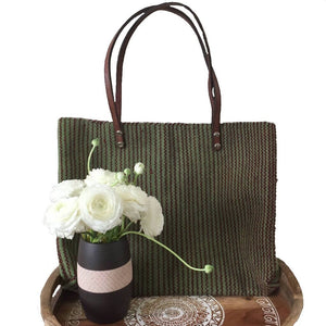 Teotitlan Zapotec Green Striped Wool Tote with Leather Handles - Mystic World Finds