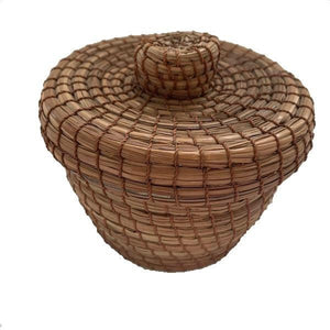 Small Pine Needle Basket Lidded Container - Mystic World Finds