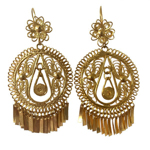 Oaxacan Gold Filigree Dangle Earrings - Mystic World Finds