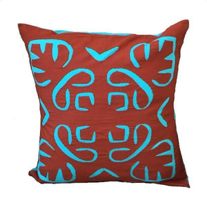 Indian Cotton Square Throw Pillowcase Brown and Blue Negative Space - Mystic World Finds