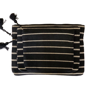 handmade striped black laptop and ipad tablet zippered padded sleeve - Mystic World Finds
