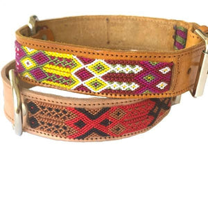 Large Leather Tribal Dog Collars - Mystic World Finds