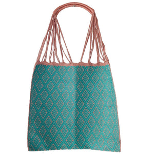 Fully Embroidered Pink and Aqua Chiapas Braided Hammock Bag - Mystic World Finds