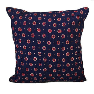 Indian Cotton Square Throw Pillowcase Navy Blue and Burgundy Dots - Mystic World Finds