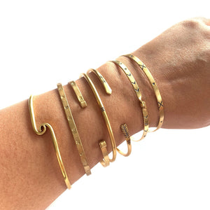 Stackable Copper Gold Bangles Bracelets Cuffs Etched Blue Ink - Mystic World Finds