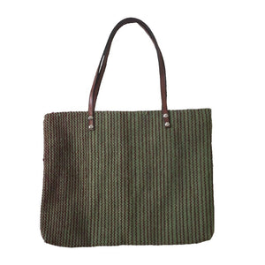 Teotitlan Zapotec Green Striped Wool Laptop Tote with Leather Handles - Mystic World Finds