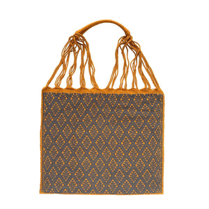 Fully Embroidered Mustard Yellow Chiapas Hammock Bag with Braided Handles - Mystic World Finds