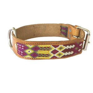 Large Dog Pink and Yellow Leather Tribal Dog Collar - Mystic World Finds