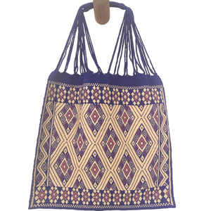 Fully Embroidered Purple Chiapas Hammock Bag with Braided Handles - Mystic World Finds