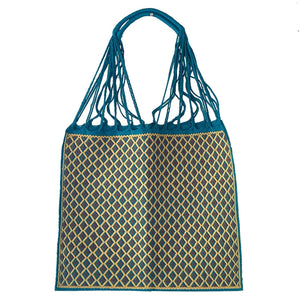 Fully Embroidered Aqua and Yellow Chiapas Braided Handles  Hammock Bag - Mystic World Finds