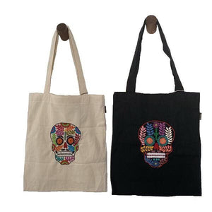 Embroidered Skull Calavera Canvas Market Tote Bag - Mystic World Finds