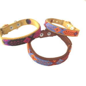 Small Dog Leather Tribal Dog Collar - Mystic World Finds
