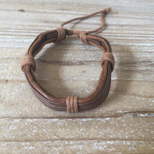Handmade Leather Strings Mens Cuff Bracelet Accessory - Mystic World Finds