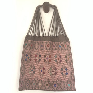 Fully Embroidered Brown and Pink Chiapas Hammock Bag with Braided Handles - Mystic World Finds