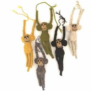 Chiapas Animals Animalitos Small Handmade Woolen Hanging Monkeys Chiapas - Mystic World Finds