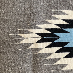 Blue Gray and White Zapotec Pom Pom Wool Rug - Mystic World Finds