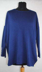 Evelyn Two Tone Raglan Sleeve Jumper with Sliver Button on Cuff