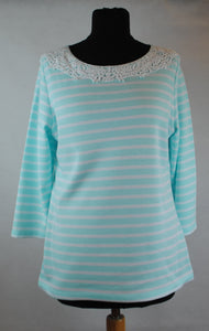 Ella Striped Lace Neckline Top