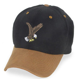 Black with Eagle Logo and Suede Visor Baseball style Big Hats fits Size 3XL