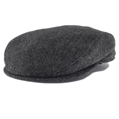 Black Wool Herringbone Large Hats with ear flaps, fits cap Sizes 3XL and 4XL, folded-down view