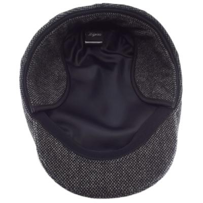 Black Wool Herringbone Large Hats with ear flaps, fits cap Sizes 3XL and 4XL, underside view