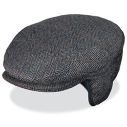 Black Wool Herringbone Large Hats with ear flaps, fits cap Sizes 3XL and 4XL