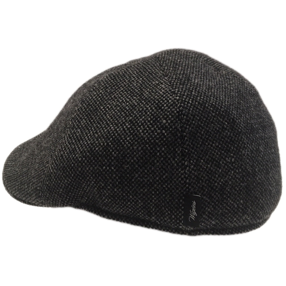 Black Wool Herringbone Large Pub Hats side view, fits cap Sizes 3XL and 4XL