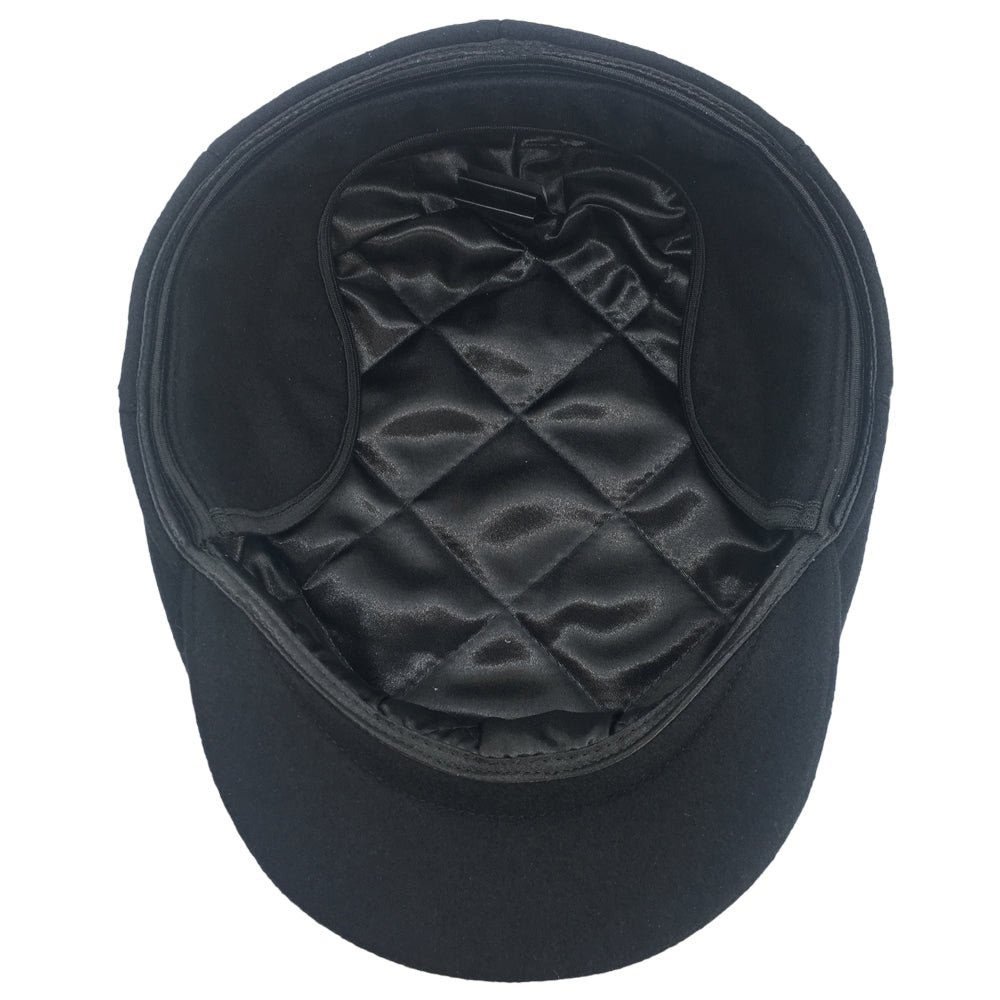 Black Soft Wool Large Hats with ear flaps, fits driving cap Sizes 3XL and 4XL, inside view