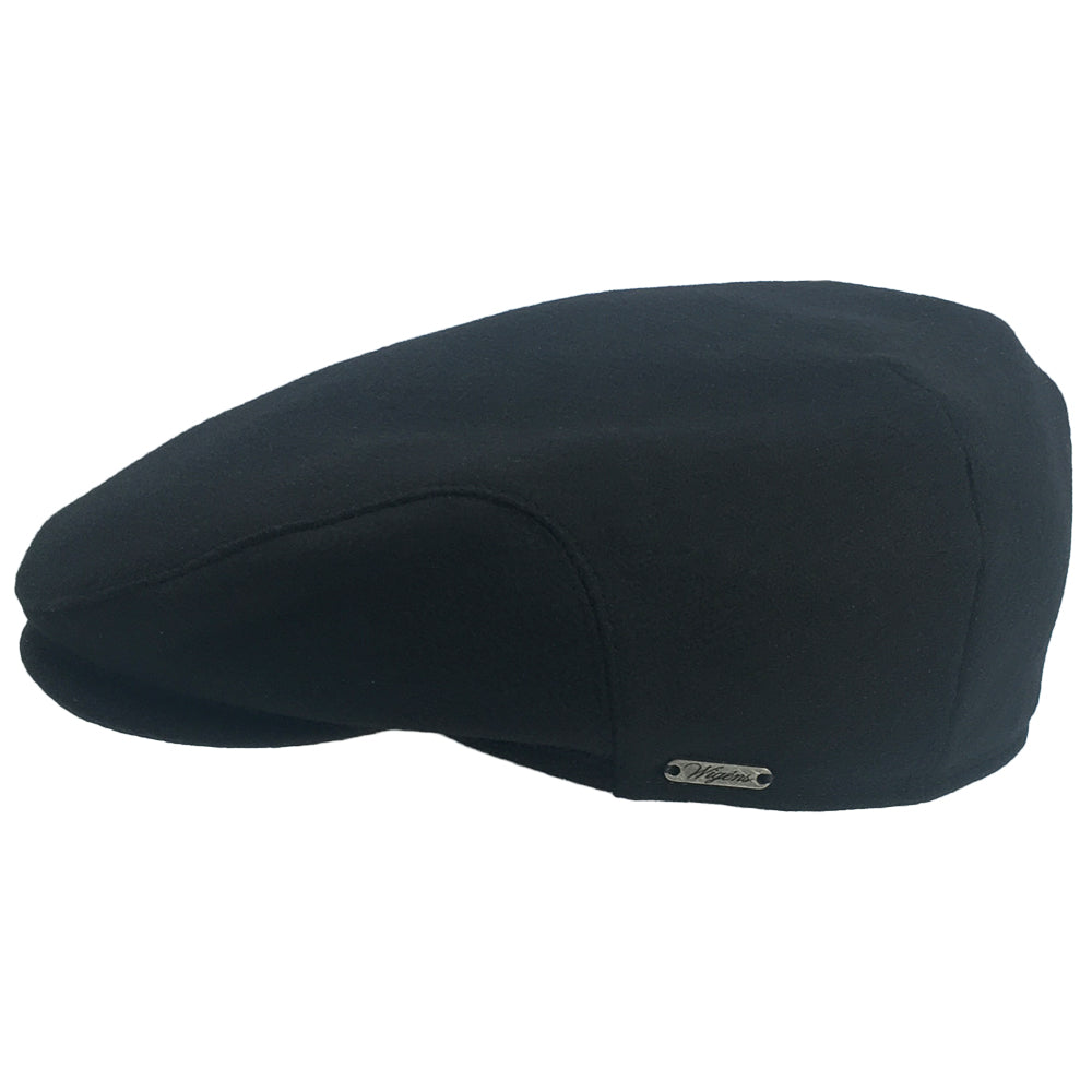 Black Soft Wool Large Hats with ear flaps, fits driving cap Sizes 3XL and 4XL, flaps up view