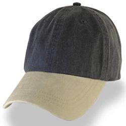 Black with Khaki Visor Weathered Baseball Caps in Hat Sizes Large, fits 3XL-4XL