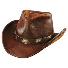 Brown Leather OverSized Cowboy Hats with Leather Buckle Trim for Sizes 2XL and 3XL