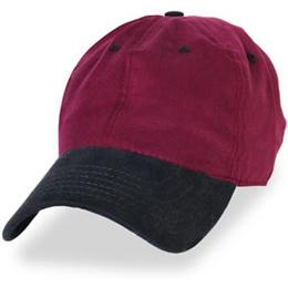 Burgundy with Black Unstructured Baseball Hats for Large Heads fits Size 3XL