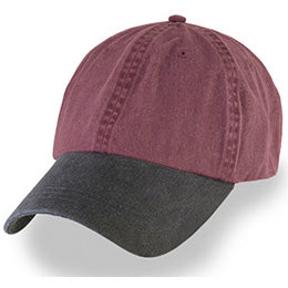 Burgundy with Black Visor Weathered Baseball Caps for Hat Sizes Large 3XL-4XL