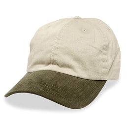 Cream with Olive Visor in Unstructured Baseball Hats for Big Heads for Size 3XL