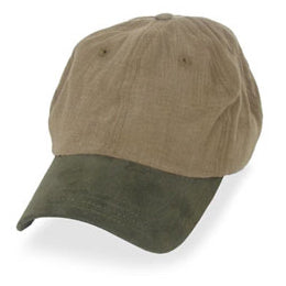 Dark Khaki with Olive Suede Visor in Baseball Hats for Big Heads fits Size 3XL