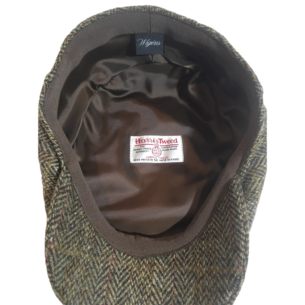Harris Tweed Driving Cap for Big Heads - Underside View