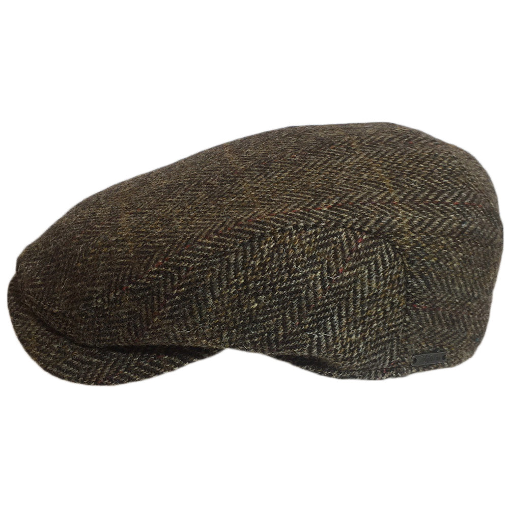 Harris Tweed Driving Cap for Big Heads - Side View