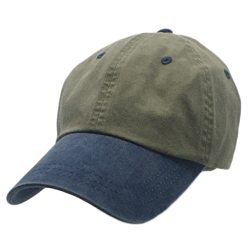 Khaki with Blue Weathered Baseball Caps in Large Hat Sizes