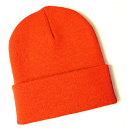 Knit Beanies for Big Heads in Blaze Orange fits Size 3XL