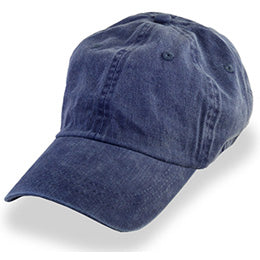 Navy Blue Denim Weathered style Baseball Caps, fits Largest Hat Sizes 3XL and 4XL