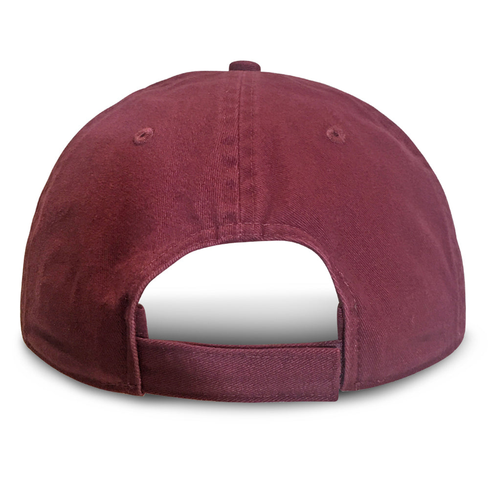 Burgundy Unstructured Baseball Hats for Big Heads fits cap Sizes 3XL and 4XL back view
