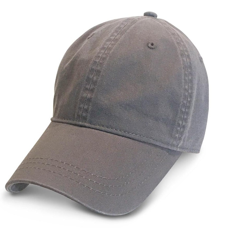 Grey Unstructured Baseball Hats for Big Heads fits cap Sizes 3XL and 4XL