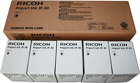 NEW 5 Pack Genuine Ricoh JP-30 Black Priport Ink