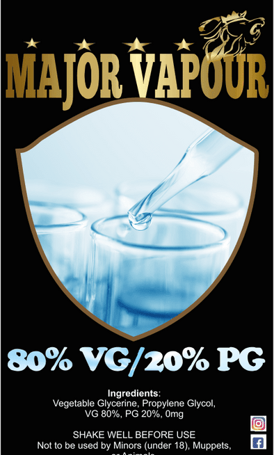 1 Litre 80Vg/20Pg - Major Vapour