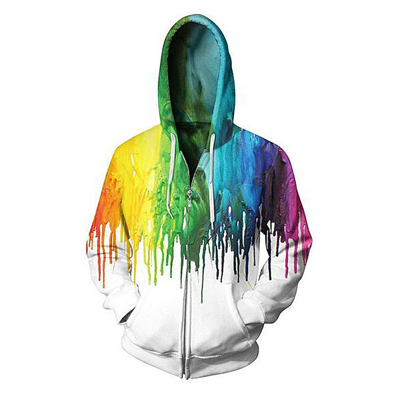 3D Colorful Splash Ink Print Zipper Hoodie
