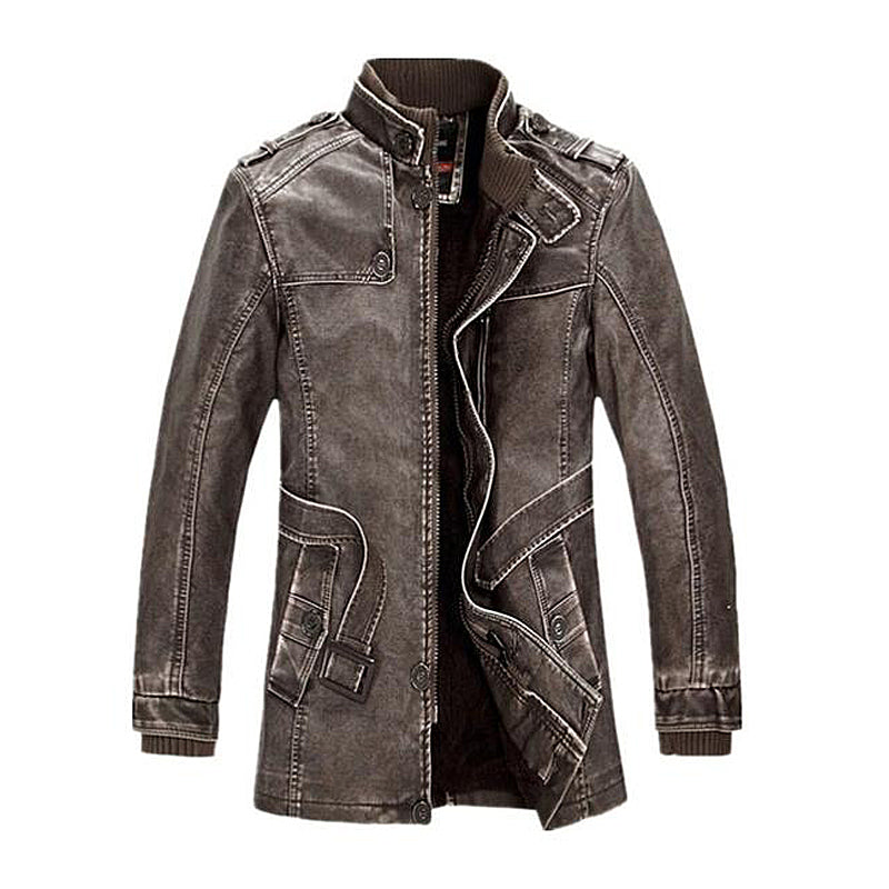 Fleece Lined Faux Leather Jacket