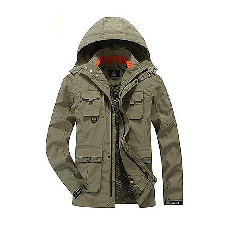 Multi-pockets Windpoof Hooded Jacket
